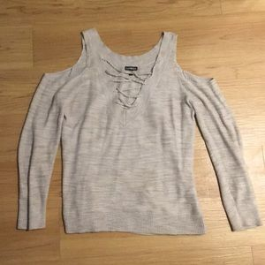 Lace up front sweater